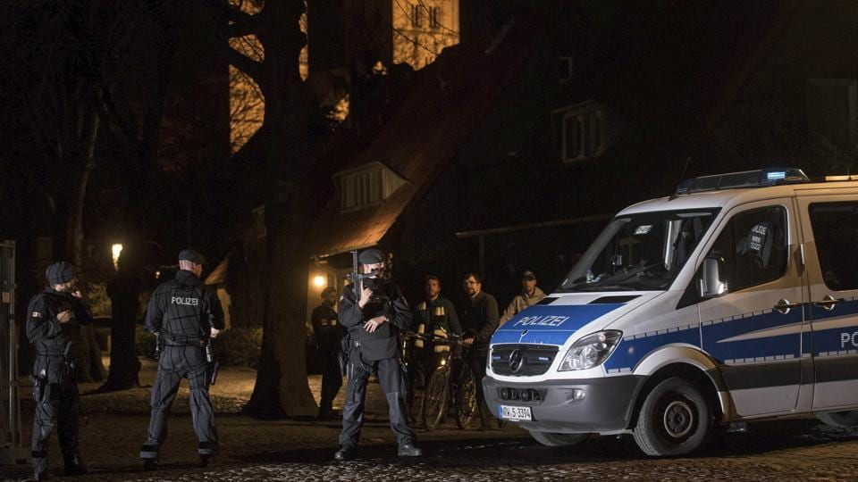 Police guard in downtown Muenster, Germany, Saturday.