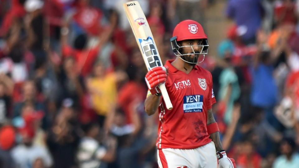 Kings XI Punjab player KL Rahul celebrates his half century against Delhi Daredevils during an Indian Premier League match at the IS Bindra Stadium in Mohali on Sunday