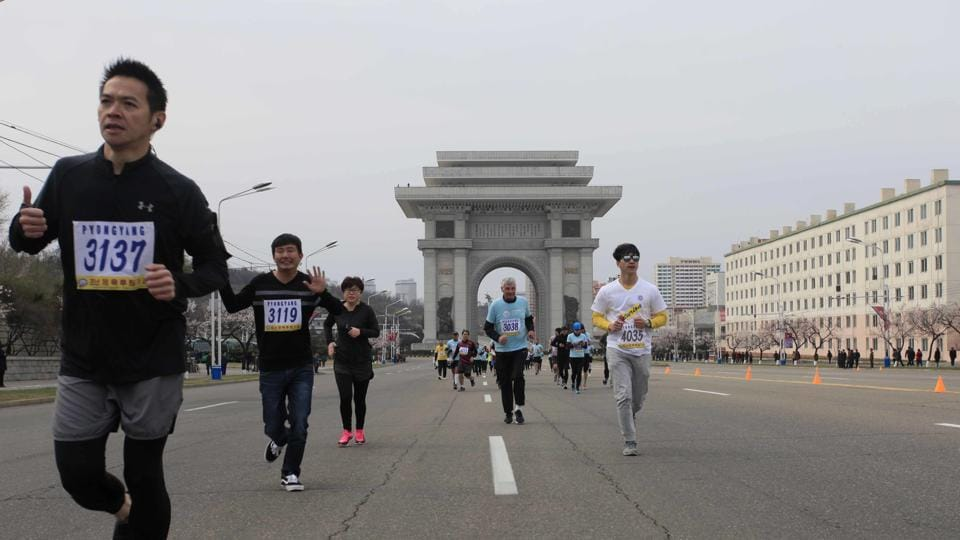 Hundreds of foreigners join Pyongyang race as Anxieties ease