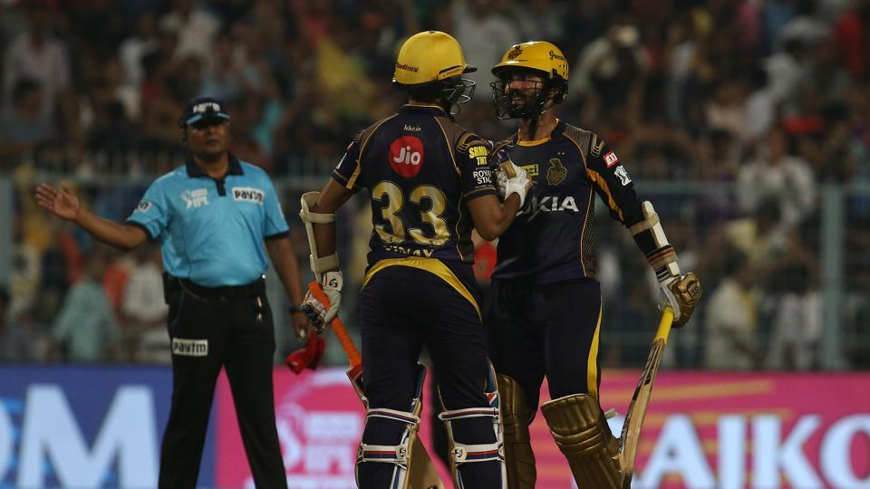 Dinesh Karthik (R) and Vinay Kumar after winning the Indian Premier League 2018 (IPL 2018) game between the Kolkata Knightriders and the Royal Challengers Bangalore held at the Eden Gardens Cricket Stadium in Kolkata on the 8th April 2018.