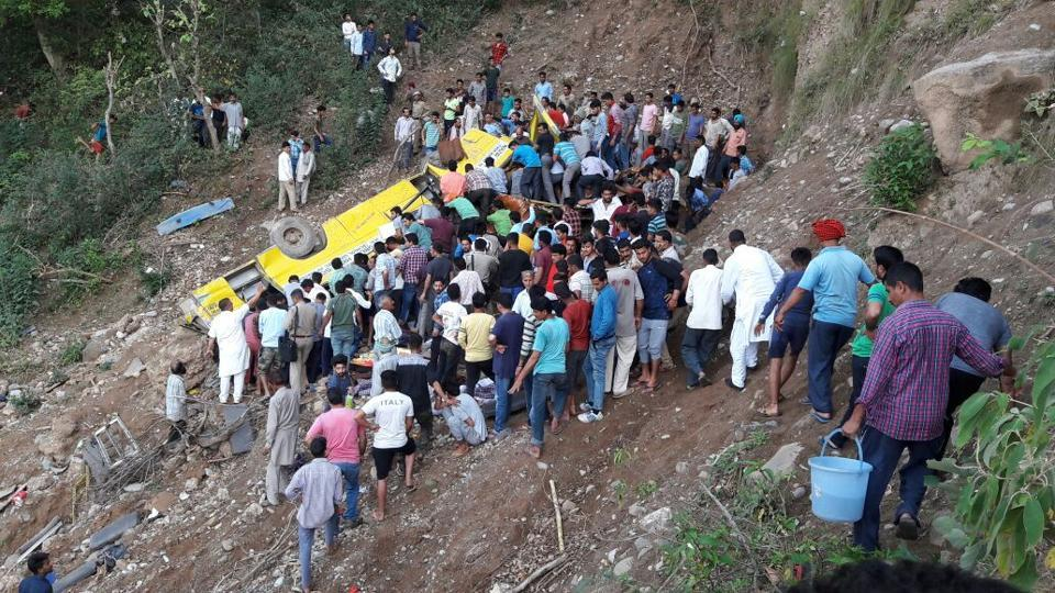 Eyewitnesses said the bus skidded on the road and rolled down the 200-feet deep gorge at Cheli village.