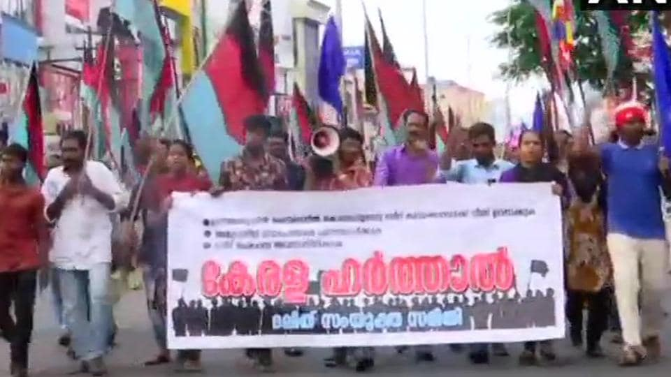 Members of Dalit community organisations stage protest in Thiruvananthapuram on Monday over the alleged dilution of the SC/ST Act .