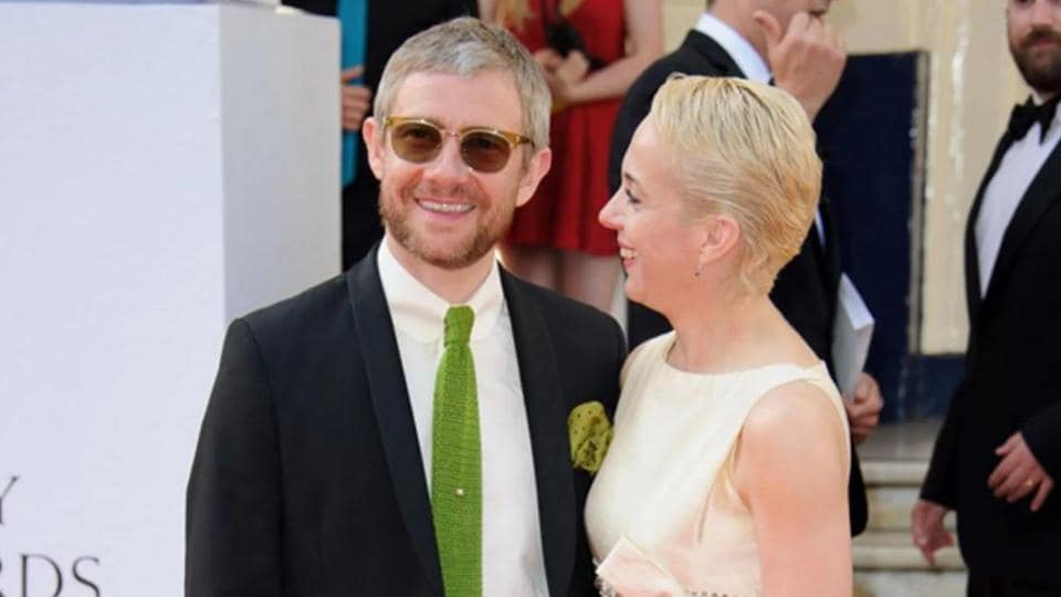 In this file photo, Martin Freeman and Amanda Abbington arrive for the British Academy Television Awards at a central London venue, Sunday, May 18, 2014.(AP)