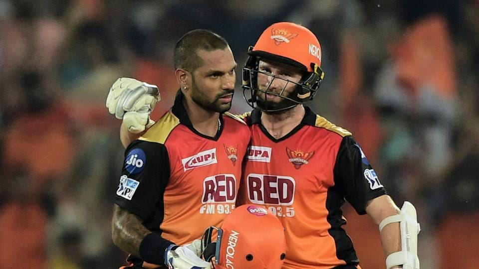 Shikhar Dhawan (L) capitalised on a reprieve when on nought as he smashed his way to an unbeaten 77 to help Sunrisers Hyderabad thrash Rajasthan Royals by nine wickets in their opening game of the 2018 Indian Premier League (IPL) at the Rajiv Gandhi International Stadium, Hyderabad on Monday.