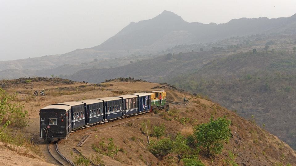 The 111-year-old Neral Matheran 'toy' train, a major tourist attraction, which chugs 21 km from Neral in Raigad district to the Matheran hill station now has upgraded brakes and a modified engine, no longer requiring 'brake porters' in each bogie to manually apply the brakes. The improved toy train comes with greater safety and a smoother ride. (Pratham Gokhale / HT Photo)
