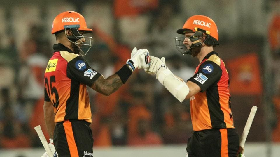 Shikhar Dhawan's brilliant, unbeaten 77 and his 120-run stand with Kane Williamson helped Sunrisers Hyderabad beat Rajasthan Royals by nine wickets in the 2018 Indian Premier League clash at the Uppal stadium. (BCCI)