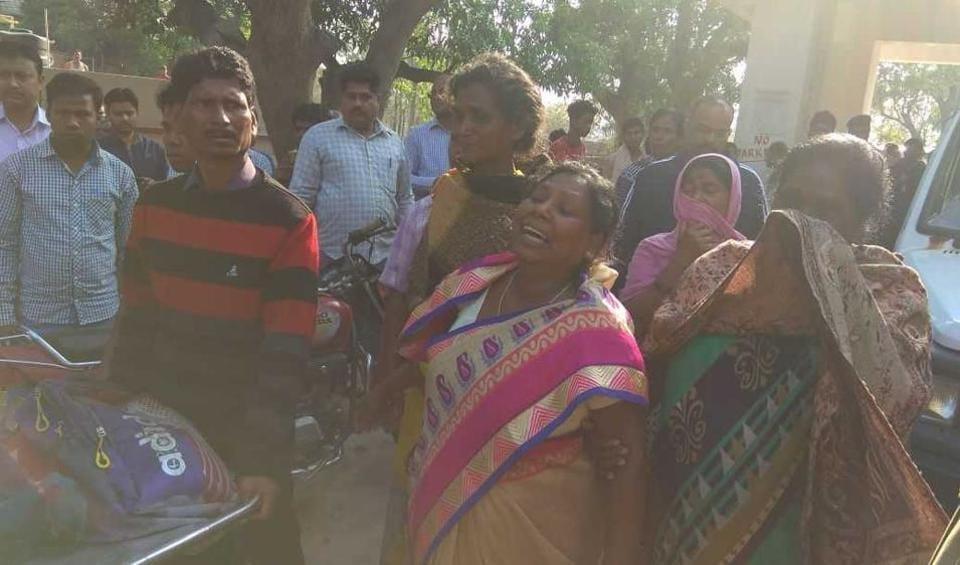 Grieving relatives of the victims outside Simdega Sadar hospital on Tuesday.
