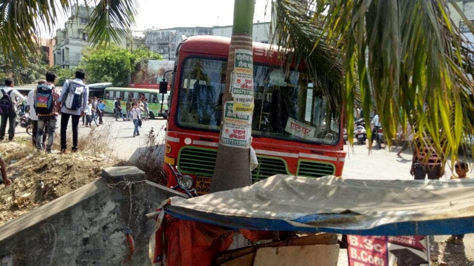 The man rammed the MSRTC nus into a tree