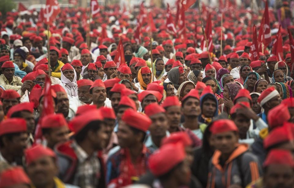 Over 35,000 farmers marched to the Maharashtra Vidhan Sabha in Mumbai last month.