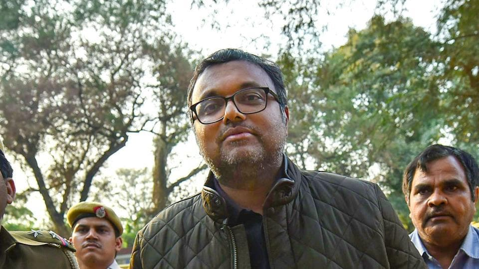 Karti Chidambaram, son of former union minister P Chidambaram escorted by police personnel to the Patiala House court in New Delhi on Wednesday.