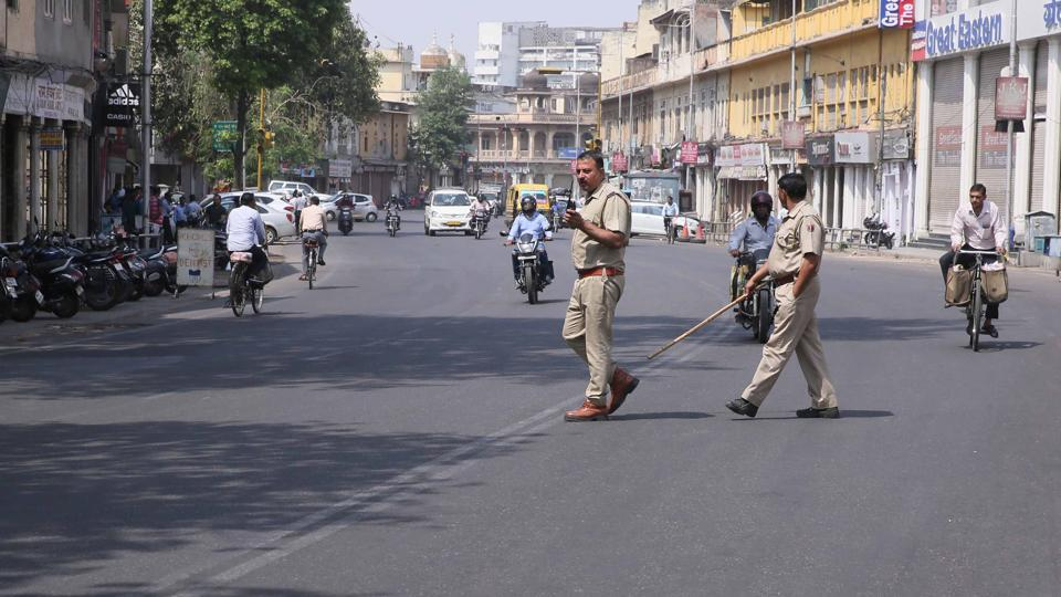 Police men on duty during 'Bharat Bandh', which many say, was called by some groups opposed to caste-based reservations in education and jobs, in Jaipur on Tuesday.