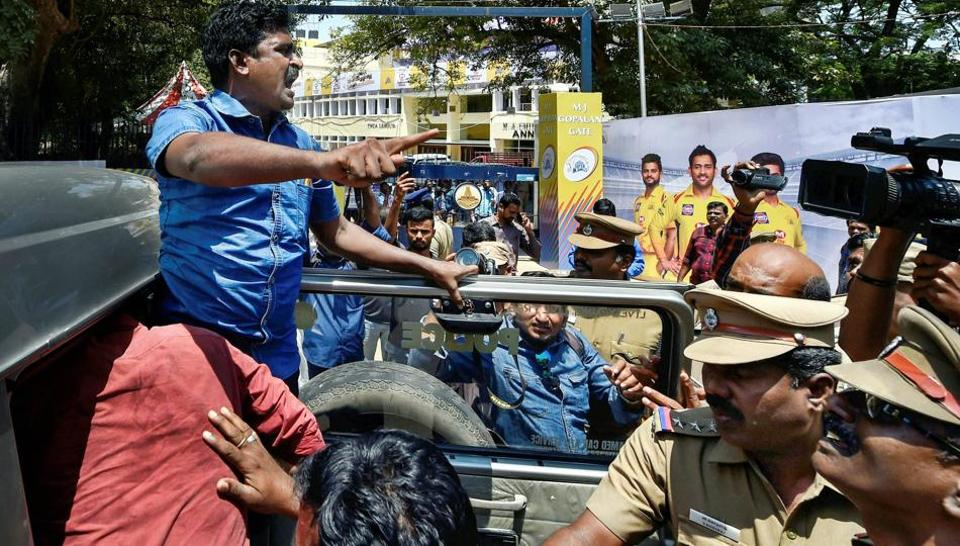 Police detain activists of Tamilzhar Vazhvu Urmayi Katchi who were staging an anti-IPL protest outside MA Chidambaram stadium in Chennai on Tuesday.