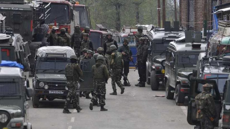 Security forces carry out search operations in south Kashmir's Kulgam district after a gun battle with militants.