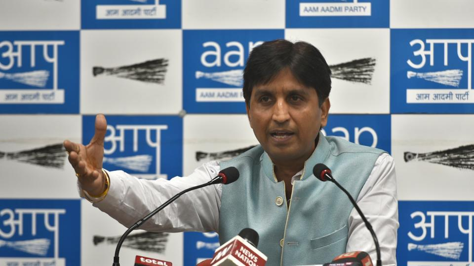 The Aam Aadmi Party (AAP) on Wednesday removed Kumar Vishwas as the in-charge of its unit in Rajasthan, where assembly elections are scheduled to be held at the end of this year, replacing him with Deepak Bajpai. (Sushil Kumar / HT File)