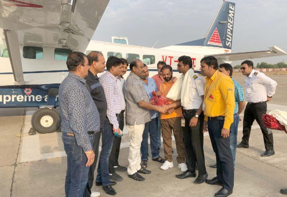 First direct flight from Kota to Delhi started from Kota Airport on Wednesday.