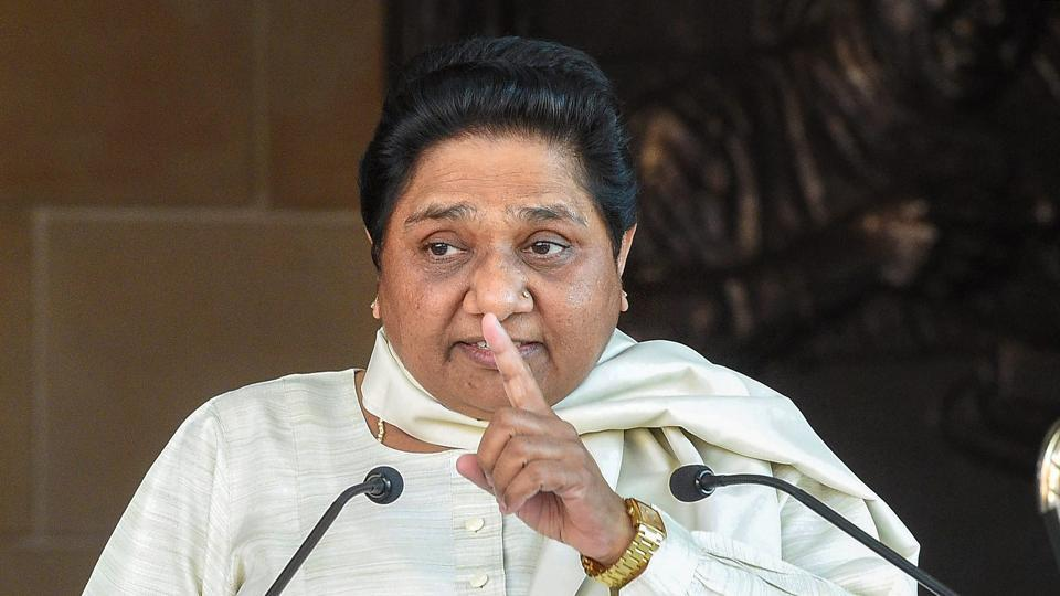 BSP supremo Mayawati addresses a press conference at her residence in Lucknow.
