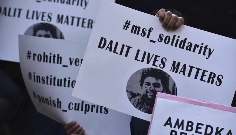 Members of student organisations gather at the North Campus to express solidarity with University of Hyderabad student Rohith Vemula, whose suicide on the campus had triggered nationwide outrage on Dalit and minority-related issues.
