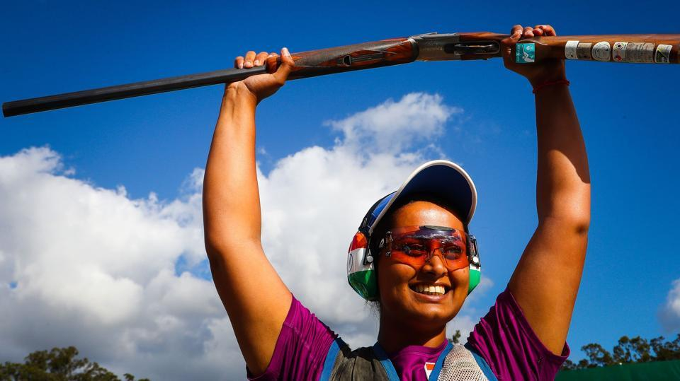 Shreyasi Singh celebrates her gold medal win in women's double trap shooting in the 2018 Gold Coast Commonwealth Games on Wednesday. (AFP)