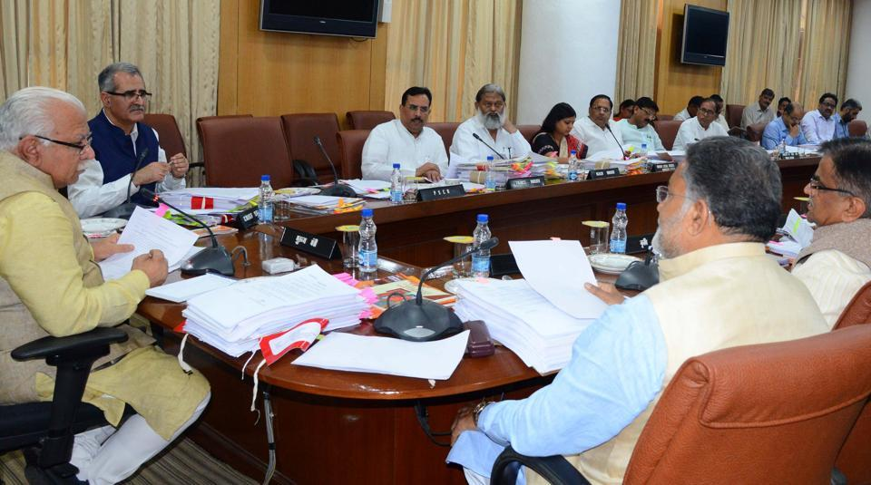 Haryana chief minister Manohar Lal Khattar presiding over a cabinet meeting in Chandigarh on Wednesday