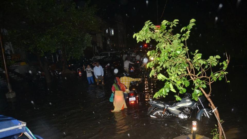 Awaterlogged street in Agra on Wednesday night.