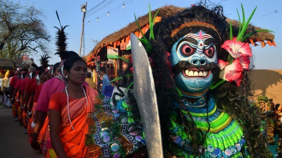 Artistes from Jharkhand perform at the Surajkund Mela at Faridabad