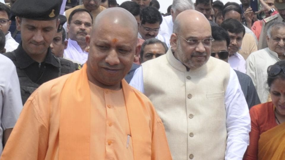 BJP president Amit Shah along with UP chief minister Yogi Adityanath, after paying tribute to social reformer Jyotiba Phule at Samtamulak Chowk in Lucknow.
