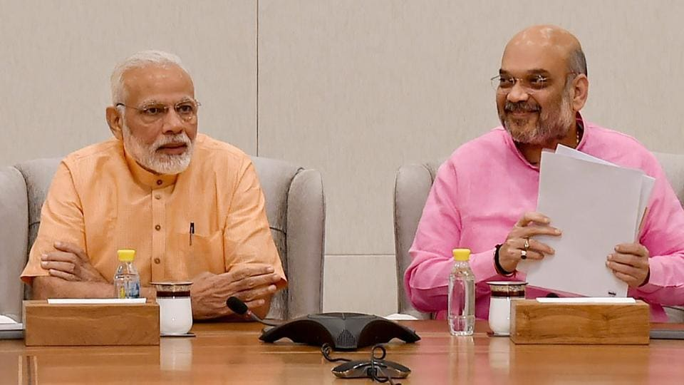 Prime Minister Narendra Modi and BJP president Amit Shah at the party headquarters in New Delhi.