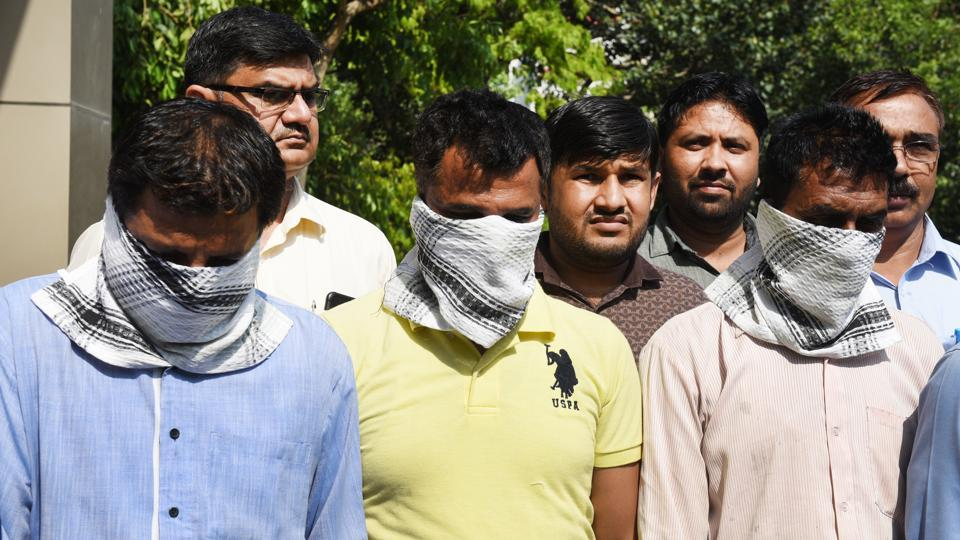 Three persons, including a teacher, were arrested by the Delhi Police from a private school in Una in Himachal Pradesh for allegedly leaking the CBSE Class 12 economics paper, at Delhi Police headquarters, in New Delhi on  April 7.