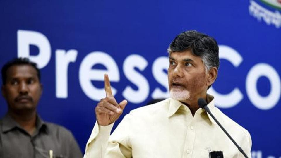 Chief Minister of Andhra Pradesh N. Chandrababu Naidu during his press conference in New Delhi, India, on Wednesday, April 4, 2018.