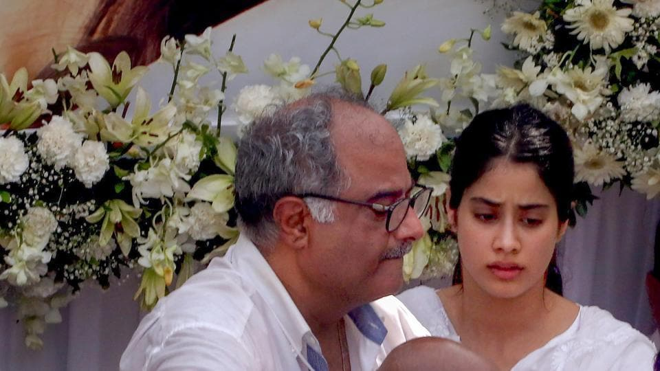 Boney Kapoor with daughter Janhvi during late actor Sridevi's funeral in Mumbai on February 28.