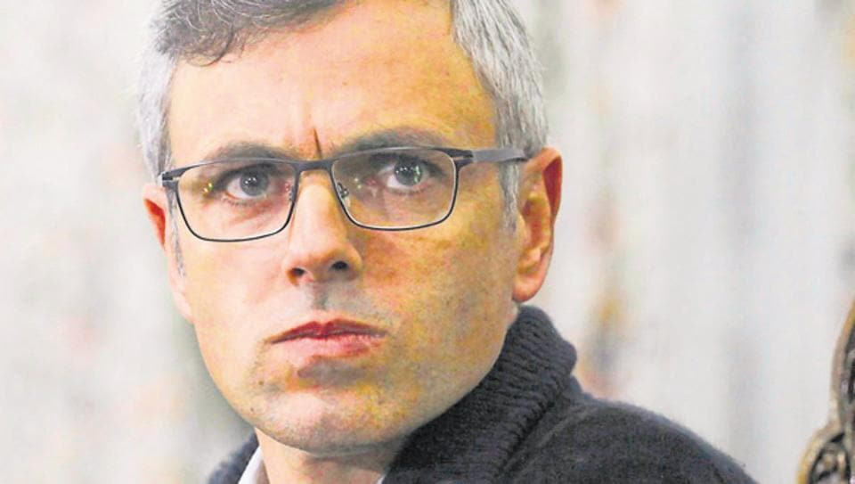 Former Jammu and Kashmir chief minister Omar Abdullah looks on during a press conference in Srinagar