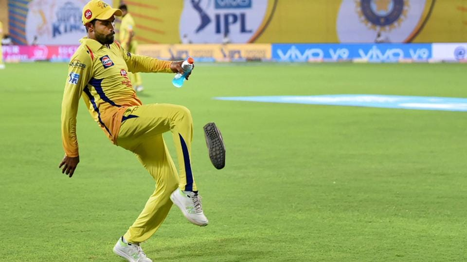 Chennai Super Kings' (CSK's) Ravindra Jadeja kicks a shoe hurled at him by a protester from a pro-Tamil outfit during the Indian Premier League (IPL)match against Kolkata Knight Riders (KKR) in Chennai on Tuesday.