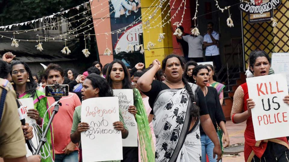 Transgenders protesting in Kochi on Saturday. A transgender column in PAN cards is a first step to ensure justice to the community discriminated by State, society (File Photo)