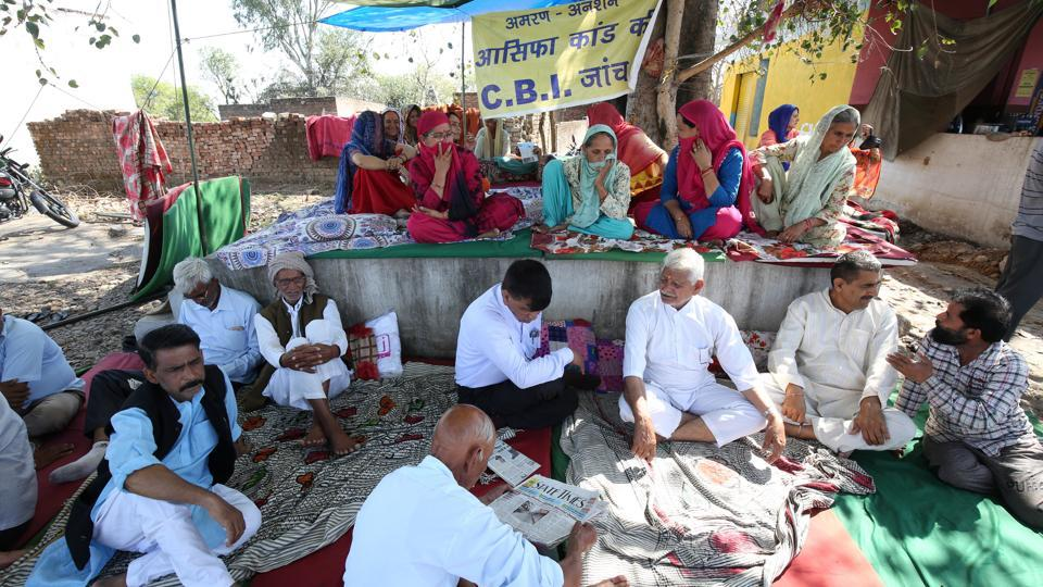 Villagers sit on a hunger strike demanding a CBI probe into the rape and murder of an eight-year-old girl in Kathua district.