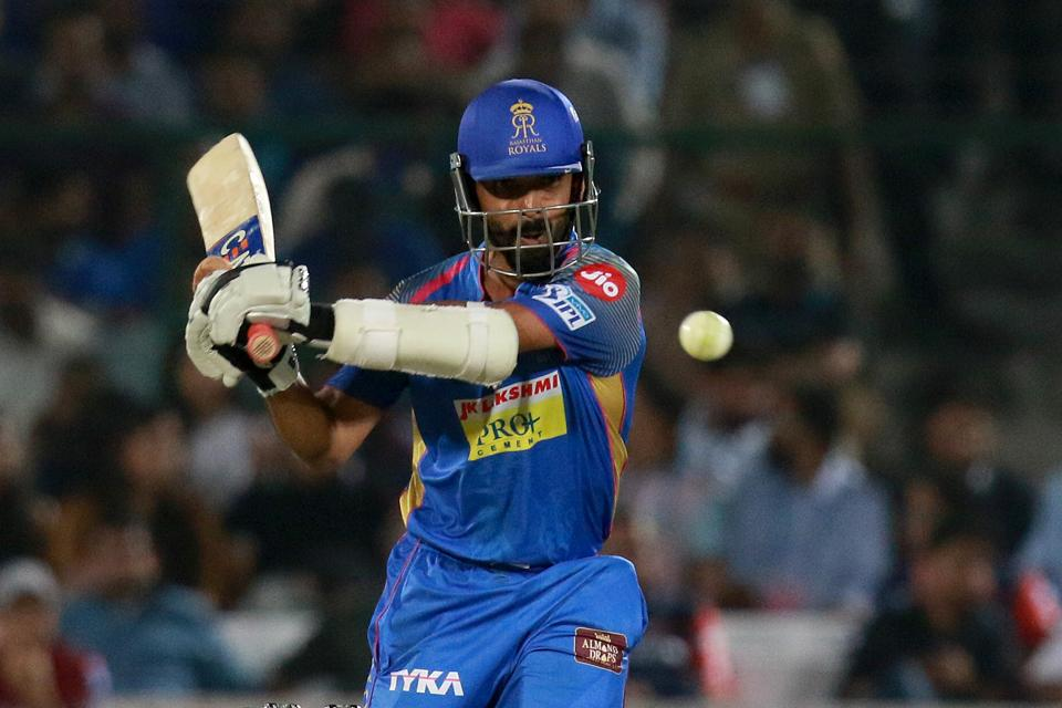 Ajinkya Rahane, captain of Rajasthan Royals (RR), plays a shot during match six of the Indian Premier League 2018 (IPL 2018) against Delhi Daredevils at the Sawai Mansingh Stadium in Jaipur on Wednesday.