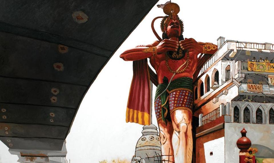 An artwork by Sanjay Bhattacharyya that shows Delhi's .