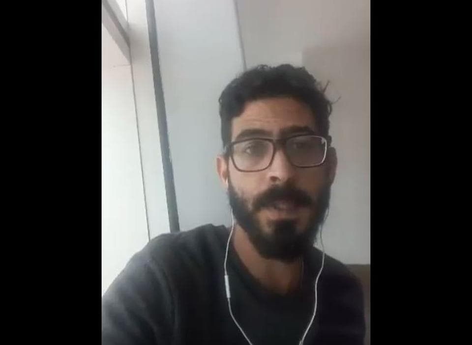 Screengrab of a video Hassan al-Kontar posted on Twitter.