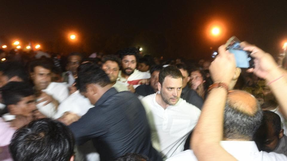 "Congress president Rahul Gandhi led a ""silent march"" in Delhi on Thursday night to protest the gang rape and murder of a child in Jammu and Kashmir and a teenager's allegation of rape against a Bharatiya Janata Party lawmaker in Uttar Pradesh. (Raj K Raj / HT Photo)"