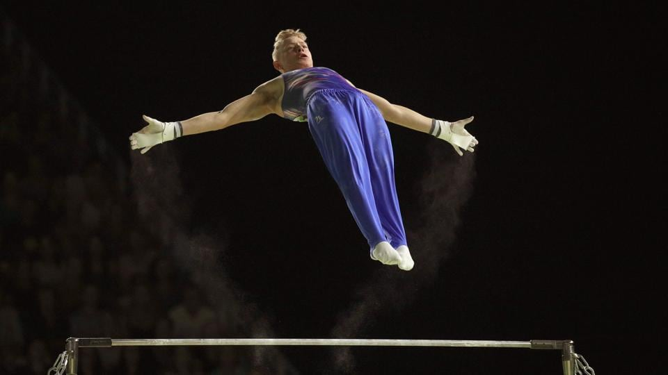 Scotland's Hamish Carter competes in the artistic gymnastics men's team final & individual qualification subdivision 3 at Coomera Indoor Sports Centre on April 5, 2018. (Athit Perawongmetha / REUTERS)