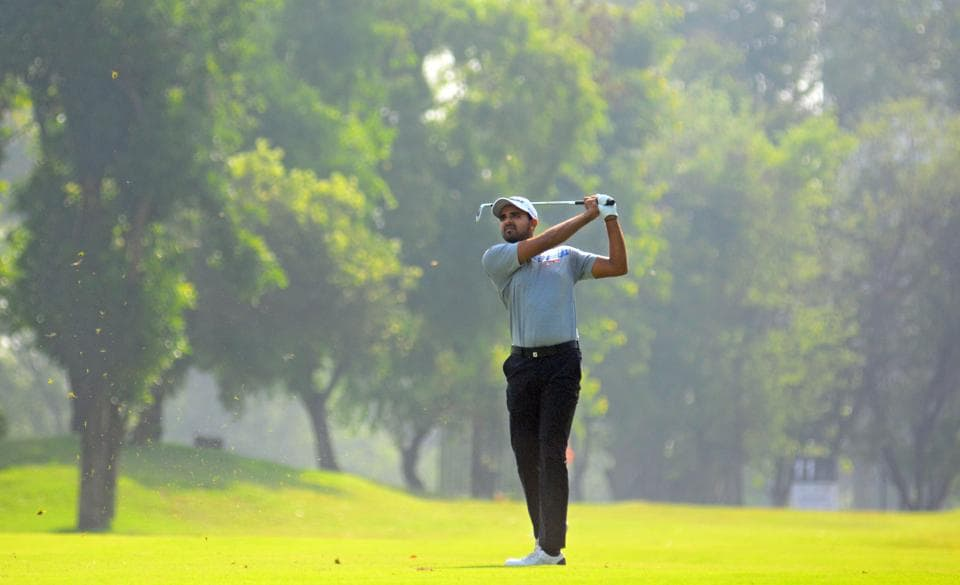 A participant in action during the Professional Golf Tour of India (PGTI)  golf tournament that concluded at Poona Golf Course in Pune on Friday. (SHANKAR NARAYAN/HT PHOTO)
