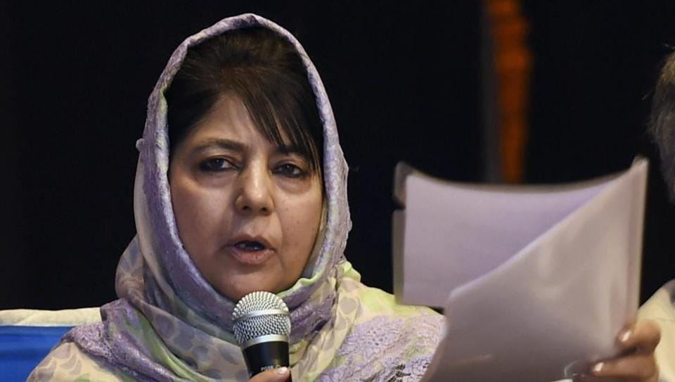 Jammu & Kashmir Chief Minister Mehbooba Mufti speaks during an interaction with Kashmiri Pandits in New Delhi.