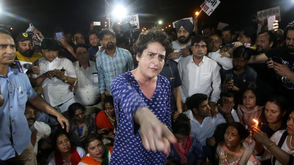 Congress leader Priyanka Gandhi Vadra takes part in a candle light vigil at India Gate to protest Unnao and Kathua rapes in New Delhi on Thursday.