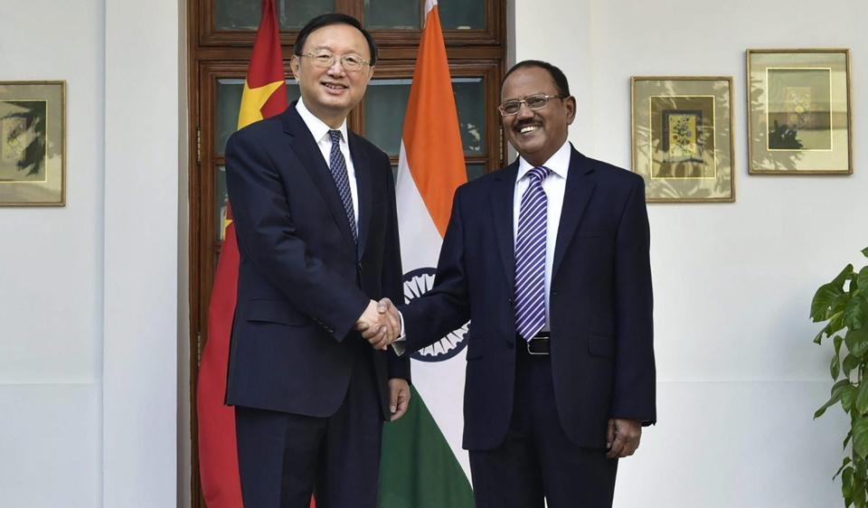 National Security Advisor Ajit Doval with then Chinese State Councillor Yang Jiechi in New Delhi in December last year. The two top officials are learnt to have held wide-ranging discussions on the current state of bilateral ties in Shanghai on Friday.