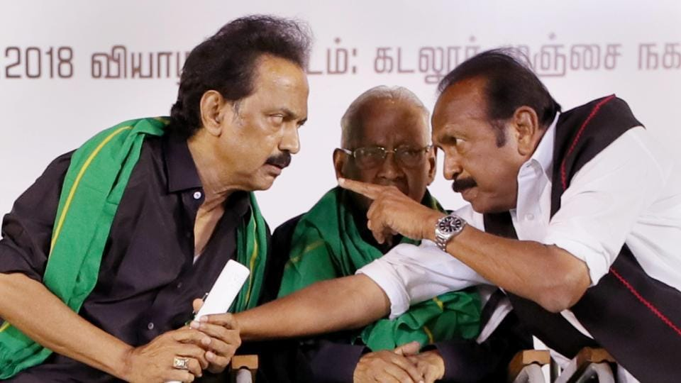 A relative of MDMK chief Vaiko (R) attempted self immolation on Friday as protests continued in Tamil Nadu over the non-formation of the Cauvery Management Board (CMB) for sharing river water with Karnataka. (PTI File)