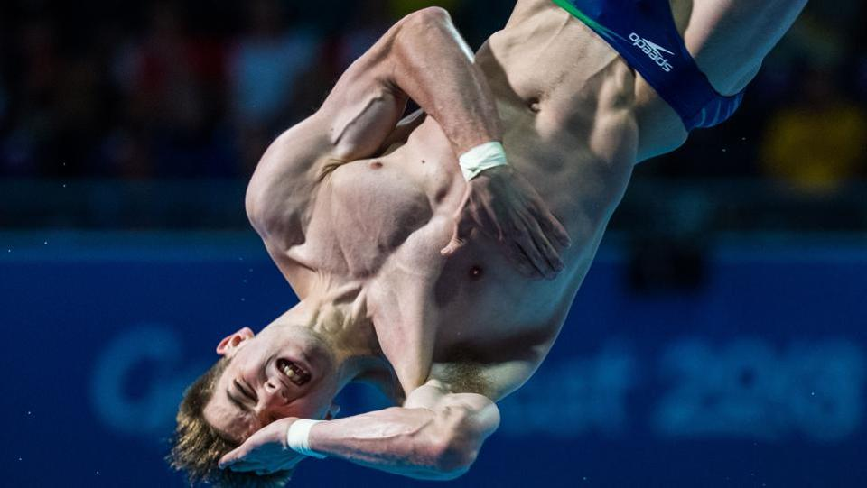 Australia's James Connor competes during the men's 1m springboard diving final at the Optus Aquatic Centre on April 11, 2018 (François-Xavier Marit / AFP)