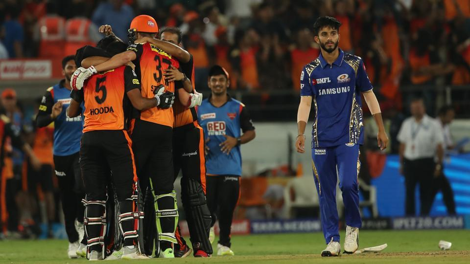 Sunrisers Hyderabad celebrate their thrilling one wicket win over Mumbai Indians in their IPL 2018 clash in Hyderabad on Thursday.
