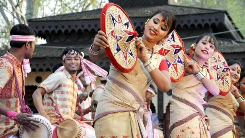 A traditional Bihu dance is performed by men and women and there are bihugeets or songs sung as well.