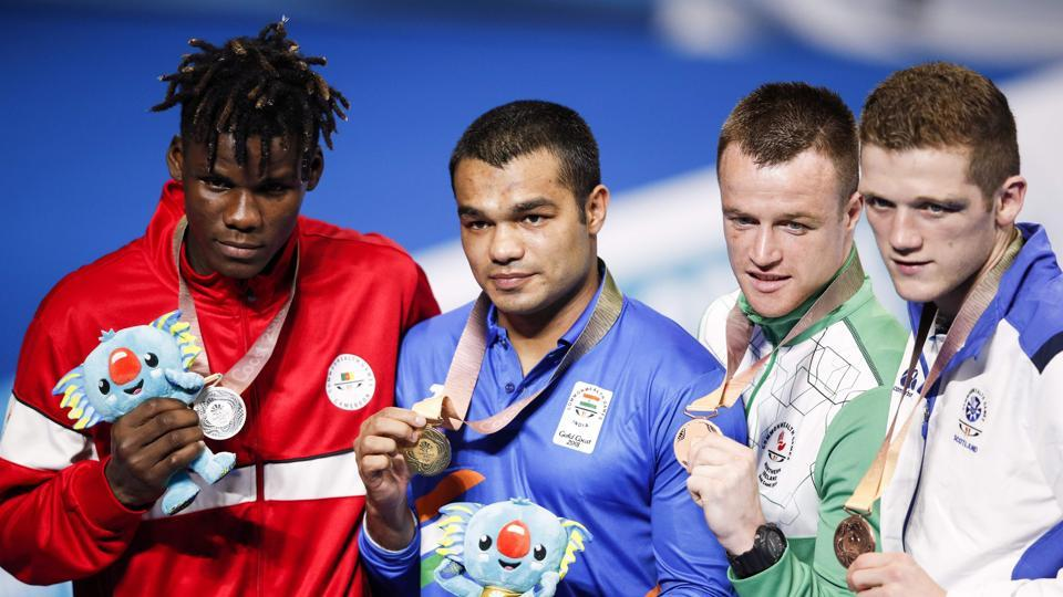 Vikas Krishan won the men's 75 kg gold by beating Dieudonne Wilfried Seyi Ntsengue of Cameroon in the final with a unanimous 5:0 decision by the judges in favour of the Indian (AFP)