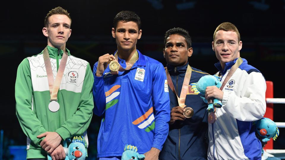 Gaurav Solanki won the men's 52 kg gold at 2018 Commonwealth Games, giving India their second medal in boxing.  (PTI)