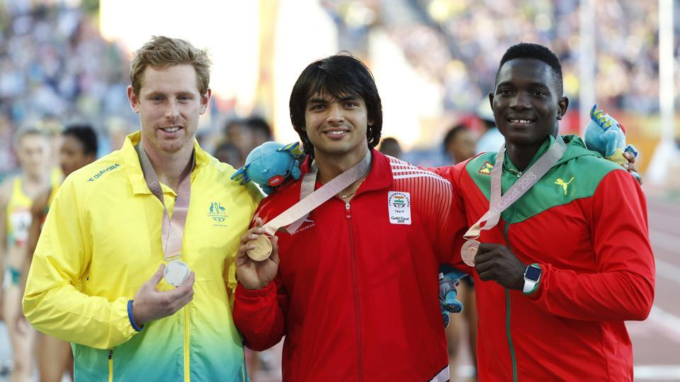 Neeraj Chopra won the men's javelin throw title after he registered his season's best performance of 86.47m in the final. Hamish Peacock took silver for Australia with 82.59m while Grenada's Anderson Peters hurled the javelin a distance of 82.20m for the bronze (REUTERS)